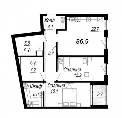 2-комнатная квартира №27 в: Meltzer Hall: 86.9 м²; этаж: 3 - купить в Санкт-Петербурге