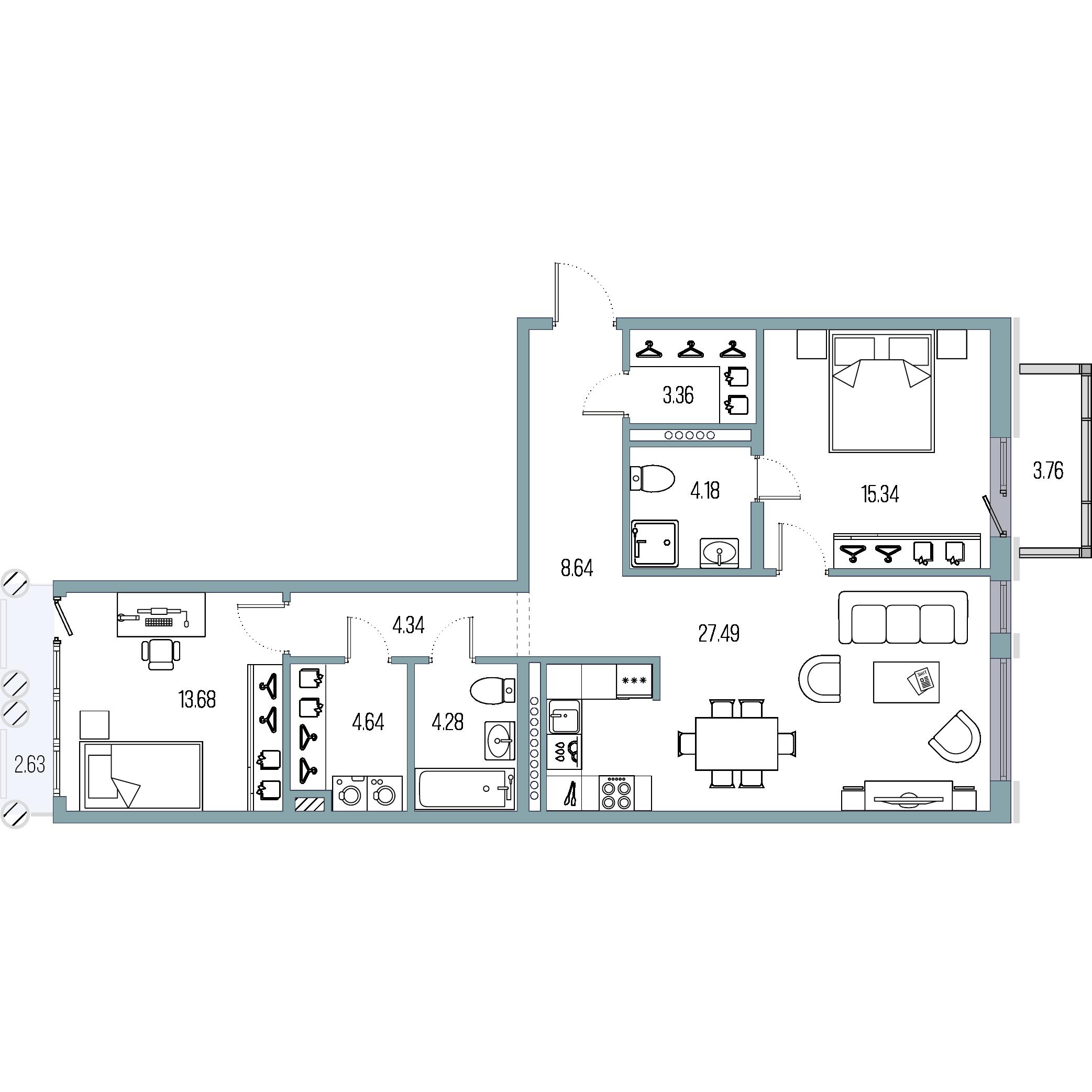 2-комнатная квартира, 85.95 м²; этаж: 6 - купить в Санкт-Петербурге
