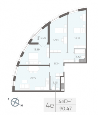 3-комнатная квартира  №20 в  Морская набережная.SeaView II очередь: 90.47 м², этаж 4 - купить в Санкт-Петербурге