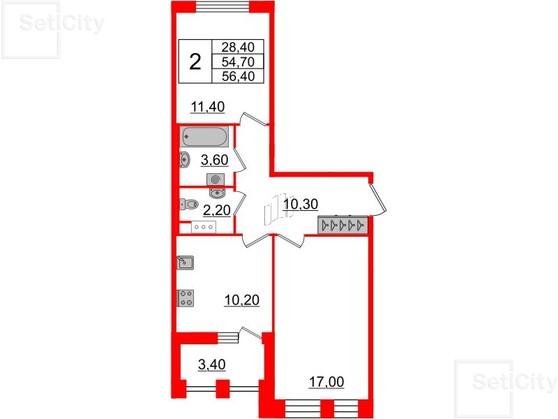 2-комнатная квартира №3 в: Светлана парк: 54.7 м²; этаж: 9 - купить в Санкт-Петербурге
