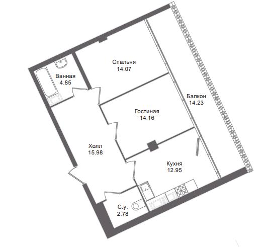 2-комнатная квартира, 68.4 м²; этаж: 6 - купить в Санкт-Петербурге