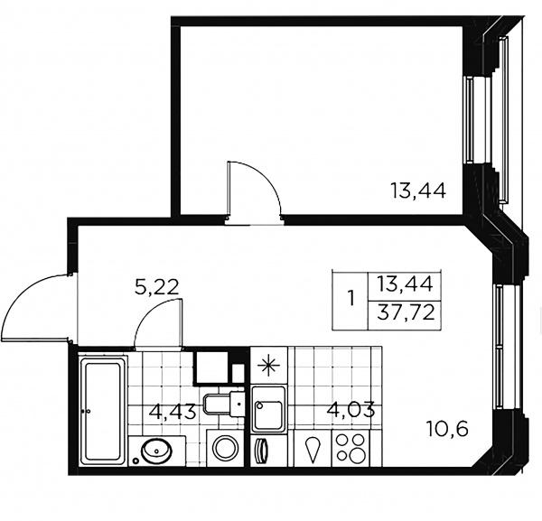 1-комнатная квартира, 37.72 м²; этаж: 3 - купить в Санкт-Петербурге