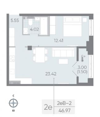 1-комнатная квартира №17А в: Neva Residence: 46.97 м²; этаж: 5 - купить в Санкт-Петербурге