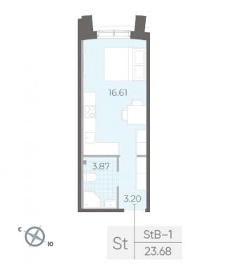 1-комнатная квартира №14 в:  Морская набережная.SeaView II очередь: 23.68 м²; этаж: 2 - купить в Санкт-Петербурге