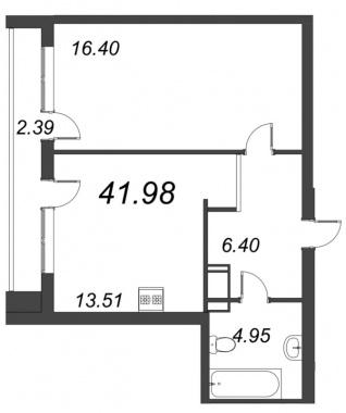 1-комнатная квартира, 41.98 м²; этаж: 3 - купить в Санкт-Петербурге