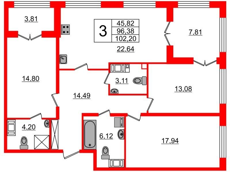 3-комнатная квартира, 96.38 м²; этаж: 2 - купить в Санкт-Петербурге