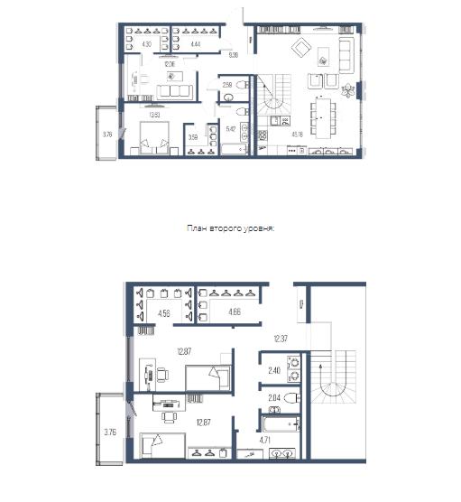 4-комнатная квартира №65 в: Московский, 65: 156.88 м²; этаж: 7 - купить в Санкт-Петербурге