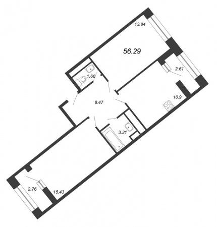 2-комнатная квартира № в: NEW TIME: 56.29 м²; этаж: 6 - купить в Санкт-Петербурге