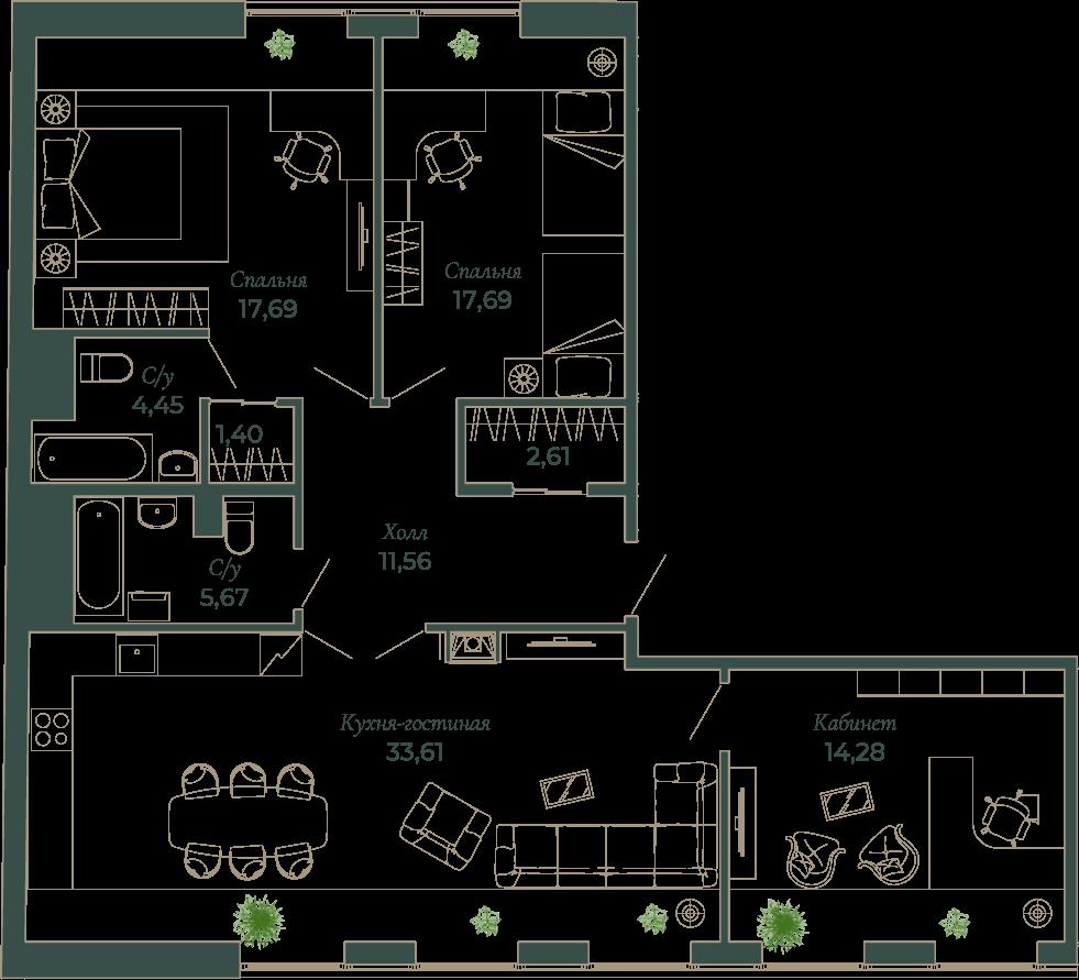 4-комнатная квартира, 105.8 м²; этаж: 8 - купить в Санкт-Петербурге