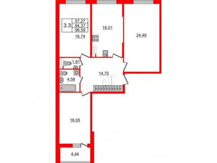 3-комнатная квартира №66 в: Притяжение: 94.37 м²; этаж: 9 - купить в Санкт-Петербурге