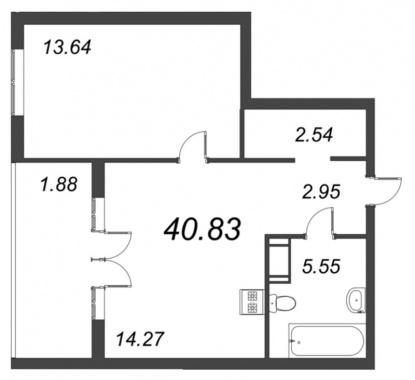 1-комнатная квартира №72 в: ID Moskovskiy: 40.83 м²; этаж: 10 - купить в Санкт-Петербурге