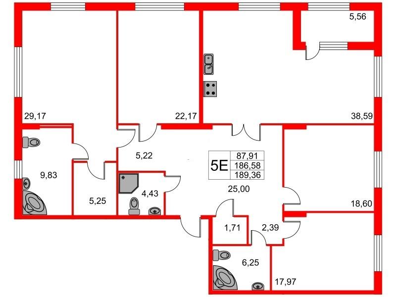 4-комнатная квартира, 189.36 м²; этаж: 6 - купить в Санкт-Петербурге