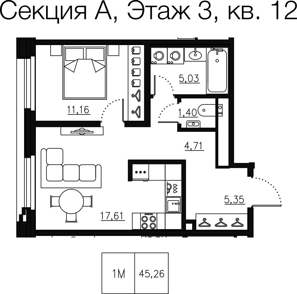 1-комнатная квартира, 46.34 м²; этаж: 3 - купить в Санкт-Петербурге
