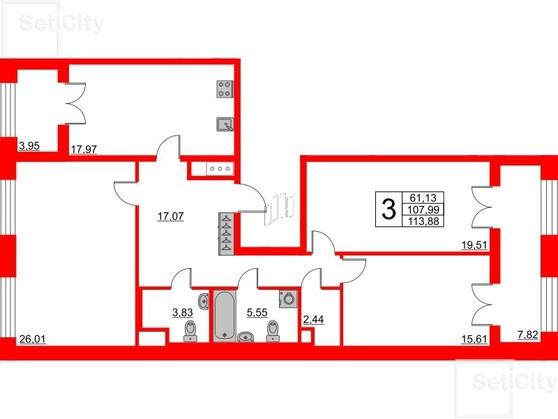 3-комнатная квартира, 107.99 м²; этаж: 2 - купить в Санкт-Петербурге