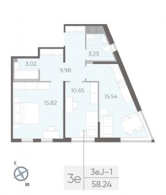 2-комнатная квартира, 58.24 м²; этаж: 12 - купить в Санкт-Петербурге