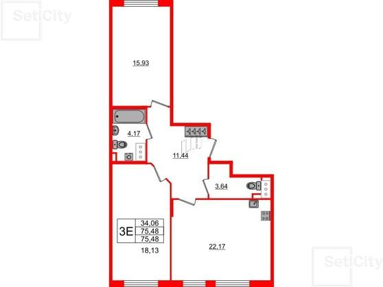 2-комнатная квартира №8 в: Палацио: 75.4 м²; этаж: 2 - купить в Санкт-Петербурге