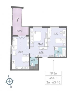 3-комнатная квартира, 63.46 м²; этаж: 13 - купить в Санкт-Петербурге