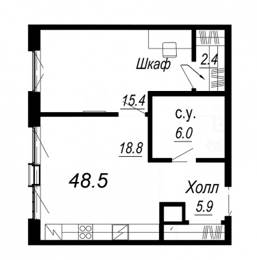 1-комнатная квартира №27 в: Meltzer Hall: 48.5 м²; этаж: 3 - купить в Санкт-Петербурге