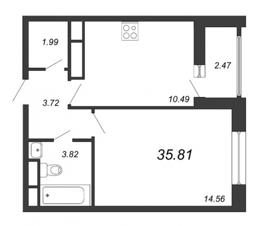 1-комнатная квартира № в: NEW TIME: 35.81 м²; этаж: 6 - купить в Санкт-Петербурге