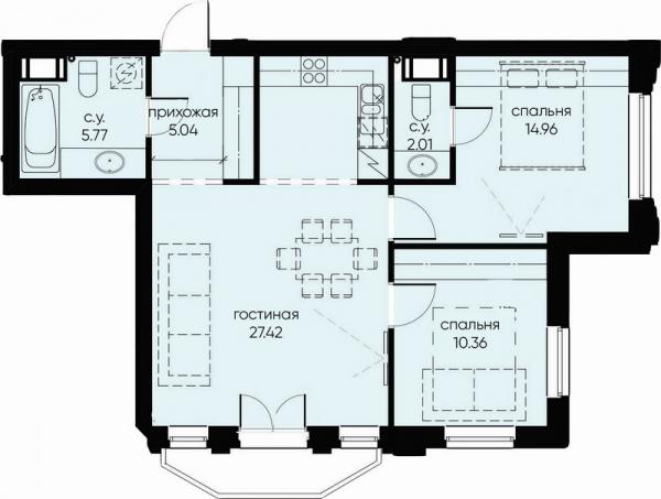 2-комнатная квартира №72 в: ID Moskovskiy: 66.47 м²; этаж: 8 - купить в Санкт-Петербурге