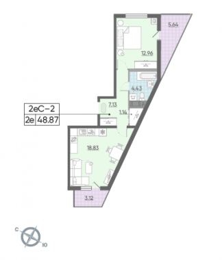 2-комнатная квартира, 48.87 м²; этаж: 3 - купить в Санкт-Петербурге
