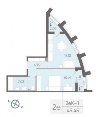 2-комнатная квартира №14 в:  Морская набережная.SeaView II очередь: 45.45 м²; этаж: 2 - купить в Санкт-Петербурге