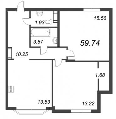 2-комнатная квартира №72 в: ID Moskovskiy: 59.74 м²; этаж: 9 - купить в Санкт-Петербурге