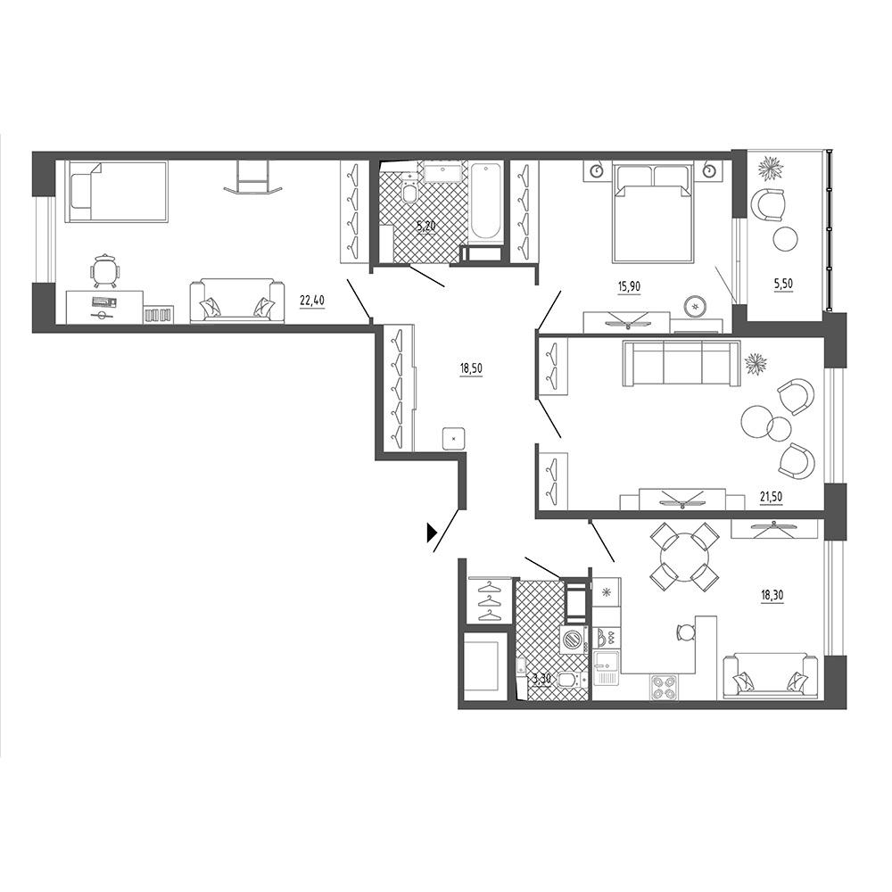 3-комнатная квартира №38 в: Галактика Премиум: 108 м²; этаж: 16 - купить в Санкт-Петербурге