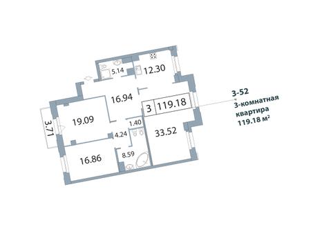 3-комнатная квартира, 119.7 м²; этаж: 5 - купить в Санкт-Петербурге
