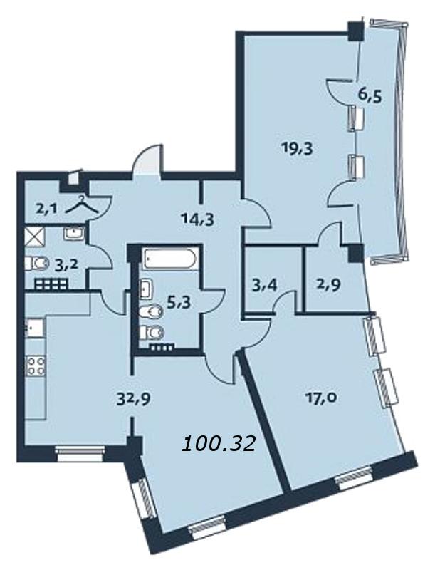 2-комнатная квартира, 100.4 м²; этаж: 4 - купить в Санкт-Петербурге