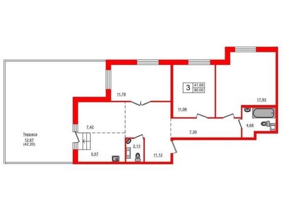 3-комнатная квартира, 80 м²; этаж: 2 - купить в Санкт-Петербурге