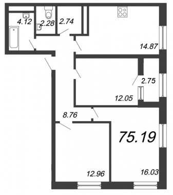 3-комнатная квартира, 75.19 м²; этаж: 12 - купить в Санкт-Петербурге
