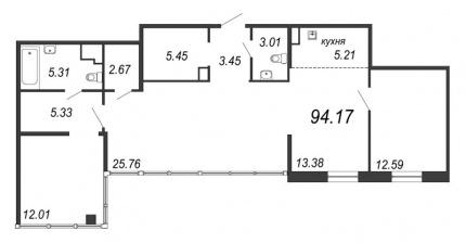 3-комнатная квартира, 94.17 м²; этаж: 12 - купить в Санкт-Петербурге