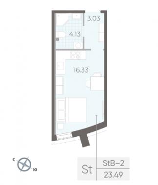 1-комнатная квартира №14 в:  Морская набережная.SeaView II очередь: 23.49 м²; этаж: 2 - купить в Санкт-Петербурге
