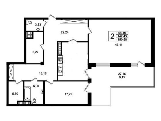 2-комнатная квартира №8 к.Б в: ЖК Привилегия: 149.5 м²; этаж: 1 - купить в Санкт-Петербурге