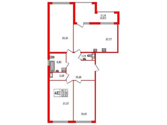 3-комнатная квартира, 125.3 м²; этаж: 6 - купить в Санкт-Петербурге
