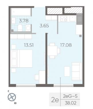 1-комнатная квартира, 38.02 м²; этаж: 14 - купить в Санкт-Петербурге