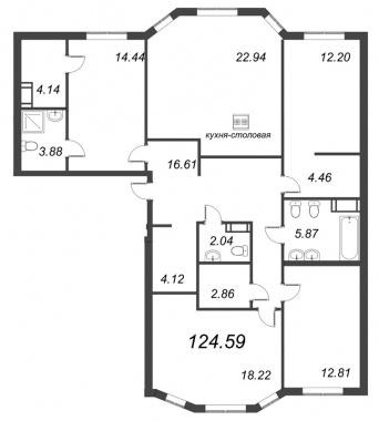 4-комнатная квартира, 124.59 м²; этаж: 3 - купить в Санкт-Петербурге