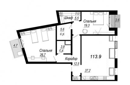 2-комнатная квартира, 113.9 м²; этаж: 7 - купить в Санкт-Петербурге