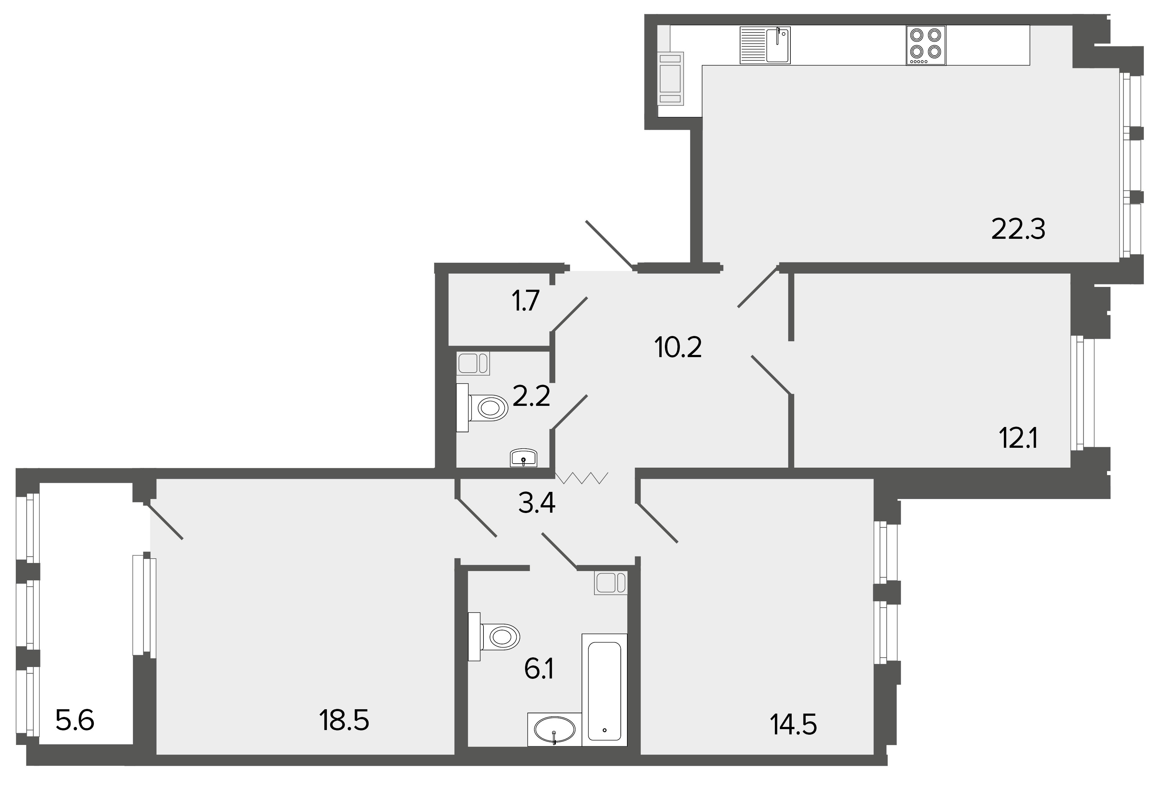 3-комнатная квартира №26 в: Созидатели: 91 м²; этаж: 4 - купить в Санкт-Петербурге