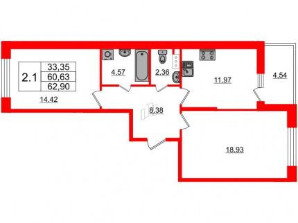 2-комнатная квартира, 60.63 м²; этаж: 9 - купить в Санкт-Петербурге