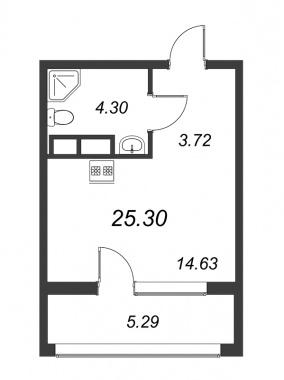 1-комнатная квартира №3А в: Терра: 25.3 м²; этаж: 11 - купить в Санкт-Петербурге