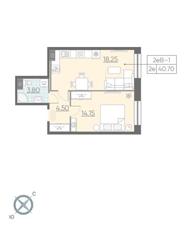 2-комнатная квартира №3 в: ЖК NEOPARK: 40.7 м²; этаж: 5 - купить в Санкт-Петербурге