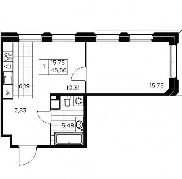 1-комнатная квартира, 45.56 м²; этаж: 3 - купить в Санкт-Петербурге