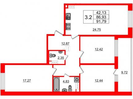 2-комнатная квартира, 86.93 м²; этаж: 7 - купить в Санкт-Петербурге