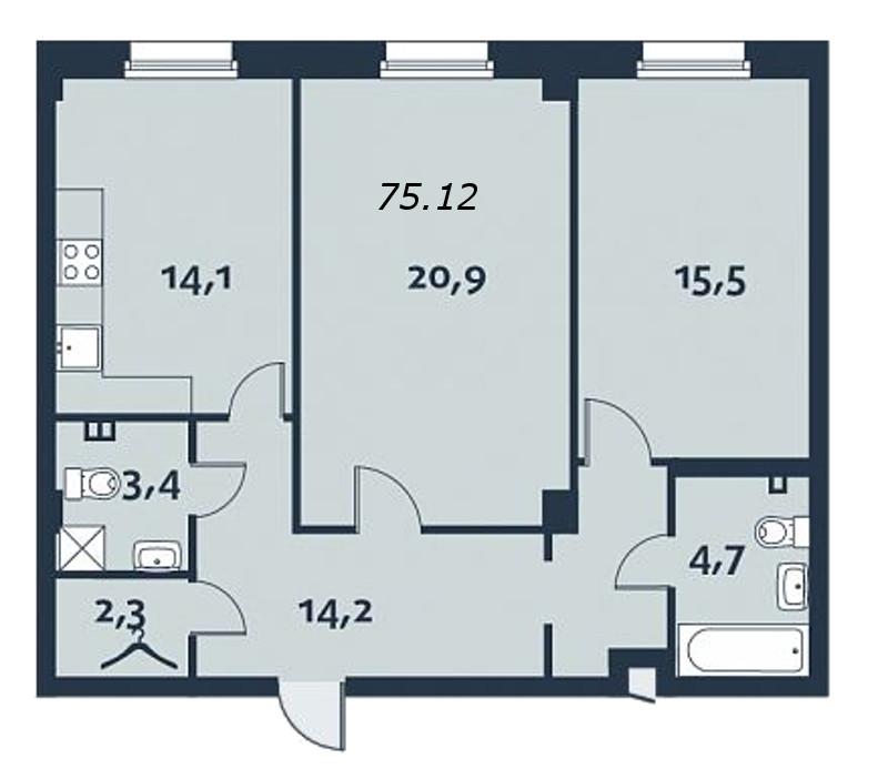 2-комнатная квартира, 77.1 м²; этаж: 5 - купить в Санкт-Петербурге