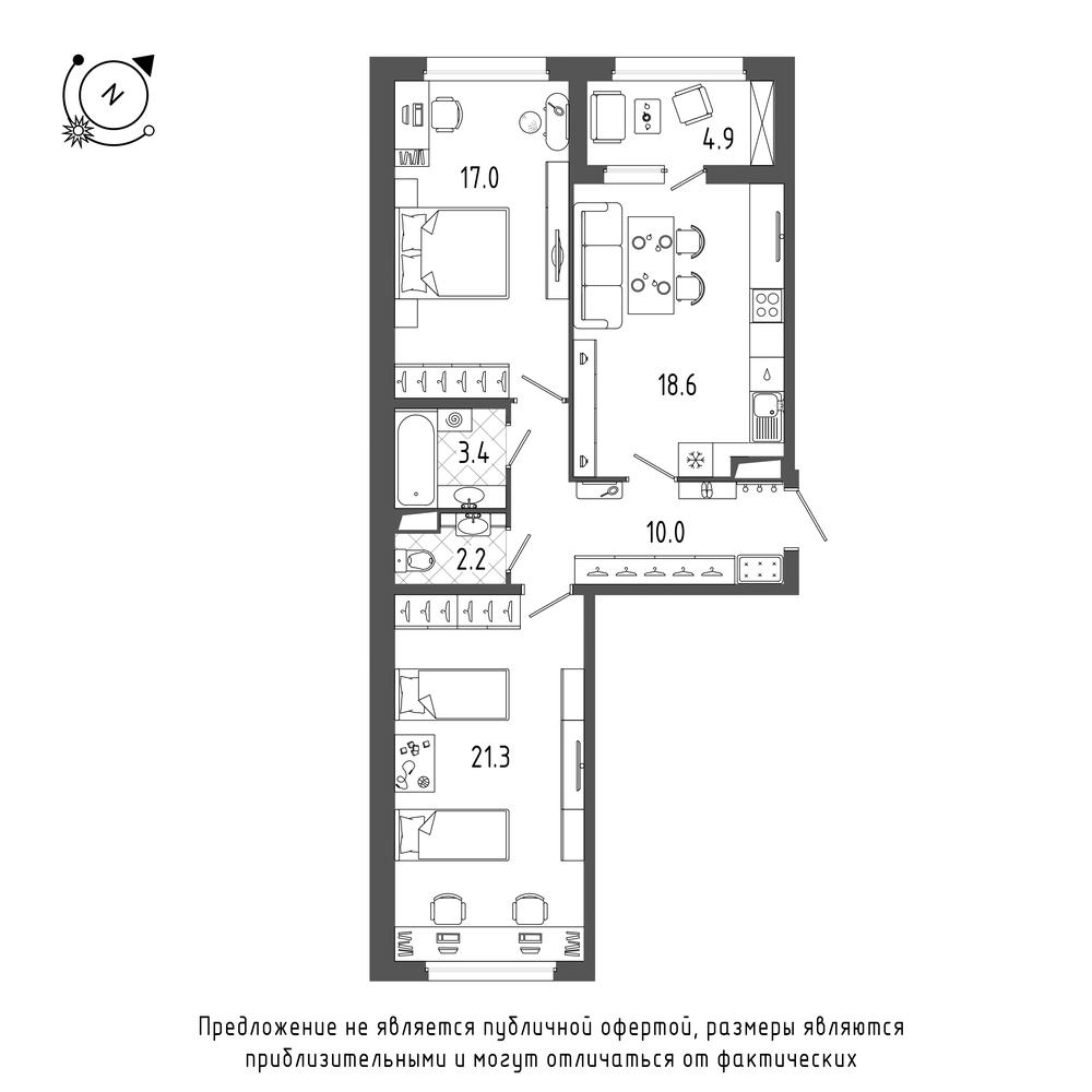 2-комнатная квартира, 75 м²; этаж: 5 - купить в Санкт-Петербурге