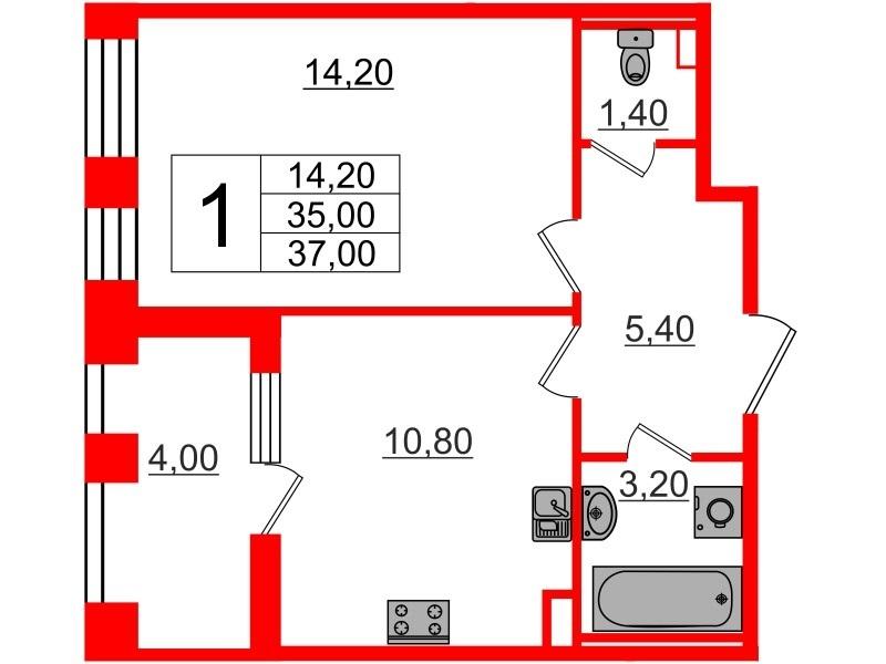 1-комнатная квартира, 35 м²; этаж: 2 - купить в Санкт-Петербурге
