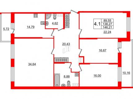 4-комнатная квартира, 138.27 м²; этаж: 6 - купить в Санкт-Петербурге