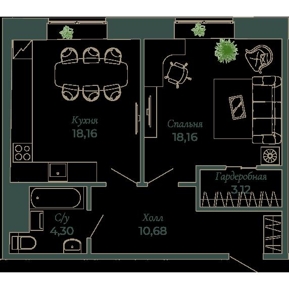1-комнатная квартира, 54.3 м²; этаж: 6 - купить в Санкт-Петербурге